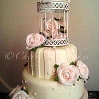 Ivory & Pink Vintage Birdcage Wedding Cake