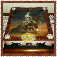 Reining Horse Cake - Hand Painted