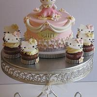 Hello Kitty cake and cupcakes!