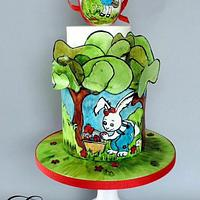Easter Coloring Book Cake Collaboration;  A hunting we will go...