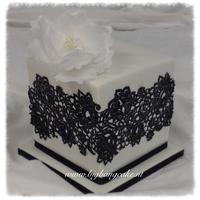 Cake with Lace, sharp edges and a waffer flower!