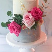 Sugar Succulent and Fresh Floral Shower Cake