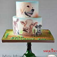 Hand painted cake for a farmer
