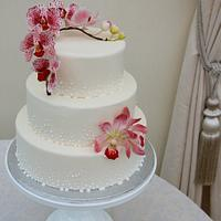 orchids and champagne bubbles cake