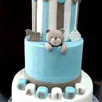 Baptism teddy bears cake