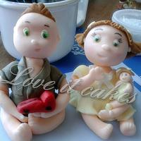 brother and sister cake topper