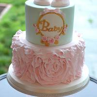 Pink and Mint Baby Shower Cake