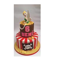 Tinkerbell and the pirates themed birthday cake