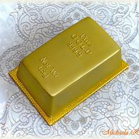 Gold bars cake for 65th birthday
