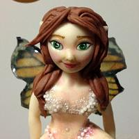 Fairy with gelatin printed butterfly wings
