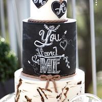 Rustic Birchbark Chalkboard Wedding Cake