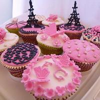 """I love Paris"" cupcakes. Paris theme cupcakes by Gulnaz Mitchell"