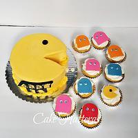 Pac Man Birthday Cake and Cupcakes