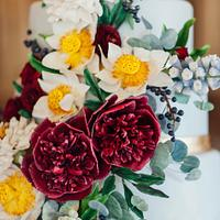 Chinese Sugar Flower Wedding Cake