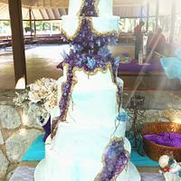 Amethyst & Turquoise Geode Cake