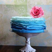 Ombre Ruffle Blue Cake