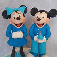 blue Mickey and minnie