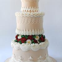 Cake in the style of the Lambeth with chrysanthemums