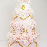 Wedding cake whith roses and hydragea