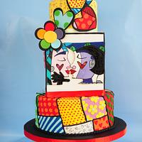 """Sweetheart""cake inspired by Romero Britto"