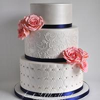 Wedding Cake with Coral Sugar Roses