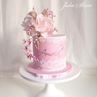 Elegant Lace Baptism Cake