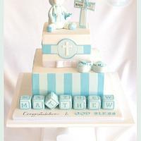 Christening cake blocks & teddy