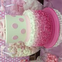 Minnie Mouse Ombré Ruffle two tiered cake by bubbdessy