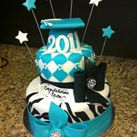 Graduation cake - Black and teal