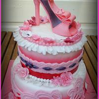 Pink high heel shoe cake