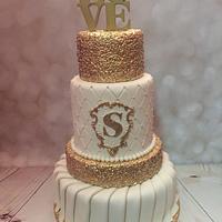 Gold Love Wedding Cake