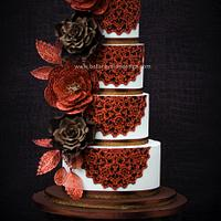 Copper and brown doily wedding cake