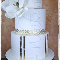 Edible Goldleaf and Magnolia Wedding Cake