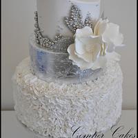 White and Silver Ruffle wedding cake