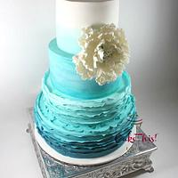 Turquoise Ombre Frilled Wedding Cake