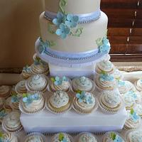 Hydrangea Wedding Cake and Cupcakes