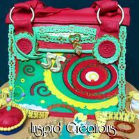 Shweshwe handbag cake