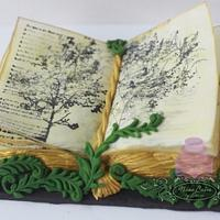Poetry book birthday cake