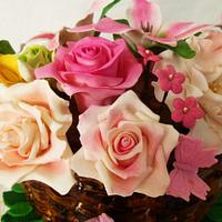 Basket with gum paste flowers