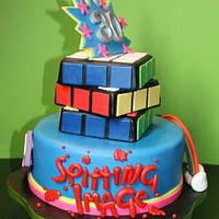 80's themed tiered cake.
