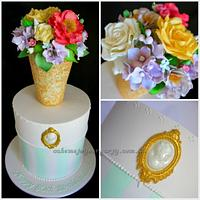 Vase of Flowers Cake (with cameo brooch feature)