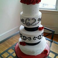 Black white red birthday/ retirement cake