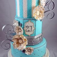 Tiffany blue, White and Silver Sequin 21st Cake