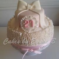 21st Birthday Cake - Ruffles and Bows by CakesByEmmaB