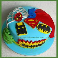 Last Minute Super Heroes Cake! Wish I had time for figurines!!! by Mel_SugarandSpiceCakes