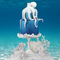 Octopus Cake for Under The Sea Sugar Art Collab