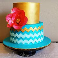 Teal and Gold Chevron by Kendra