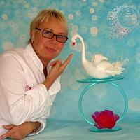 Isomalt sculpture - Graceful Swan