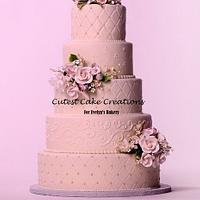 Blushing pink wedding cake