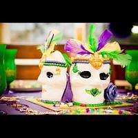 3D Mardi Gras Themed Birthday Cake